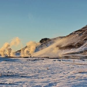 Iceland winter self drive lake myvatn