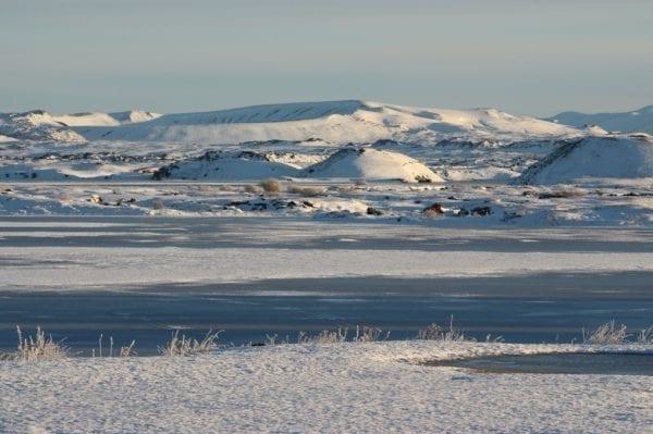 Iceland winter self drive lake myvatn