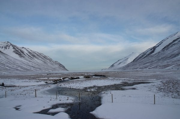 Iceland hedinsfjordur winter