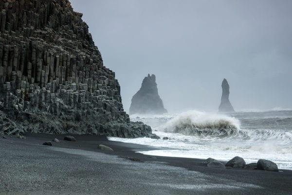 Iceland, Reynisfjara black sand beach