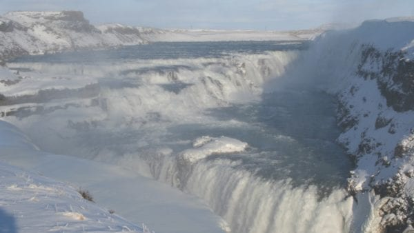 Gullfoss waterfall winter Golden Circle