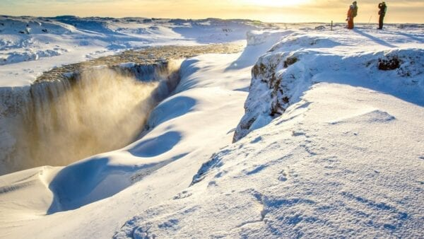Dettifoss waterfall winter