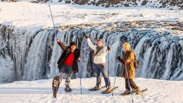 snowshoe hiking Dettifoss waterfall