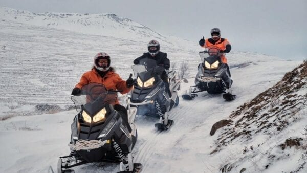 Snowmobile ride north Iceland